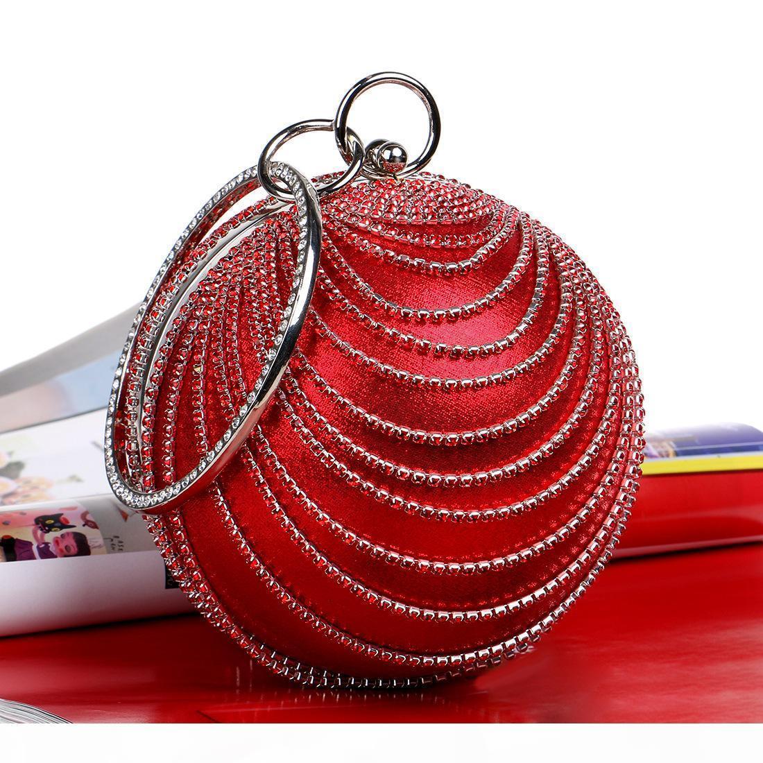 DesignerWomen Art und Weise der Handtasche neue runde Strass Abendtaschen Handgemachte Hochzeit Tasche Goldene Troddel Geldbeutel Diamanten Party-Taschen