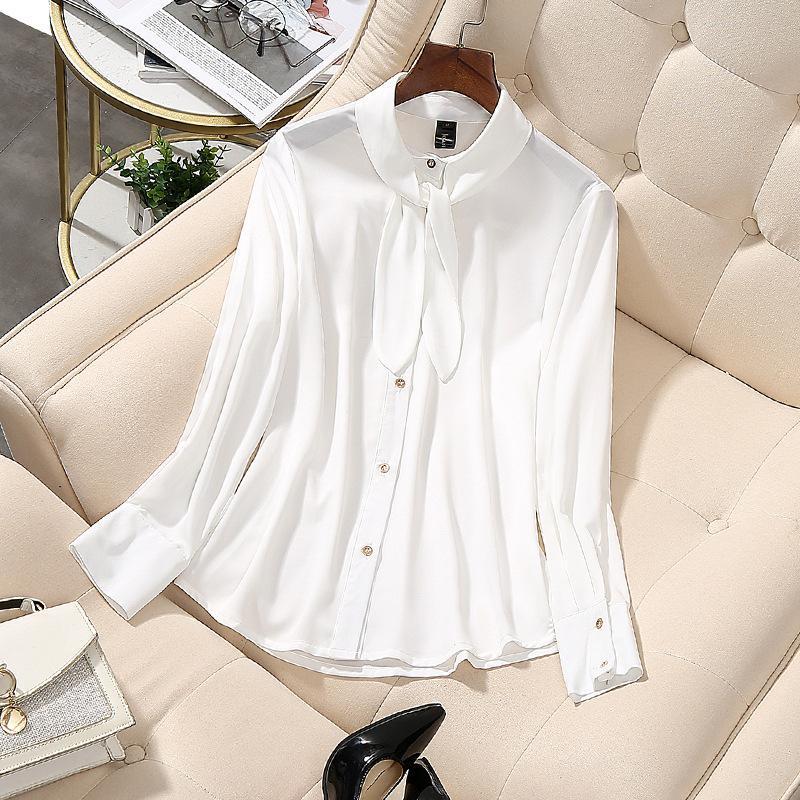 المرأة البلوزات قمصان ربيع الخريف 2021 المرأة الأبيض قميص طويل الأكمام الكورية الشارع الشهير سليم الشيفون بلوزة أنيقة السيدات قمم M-5XL