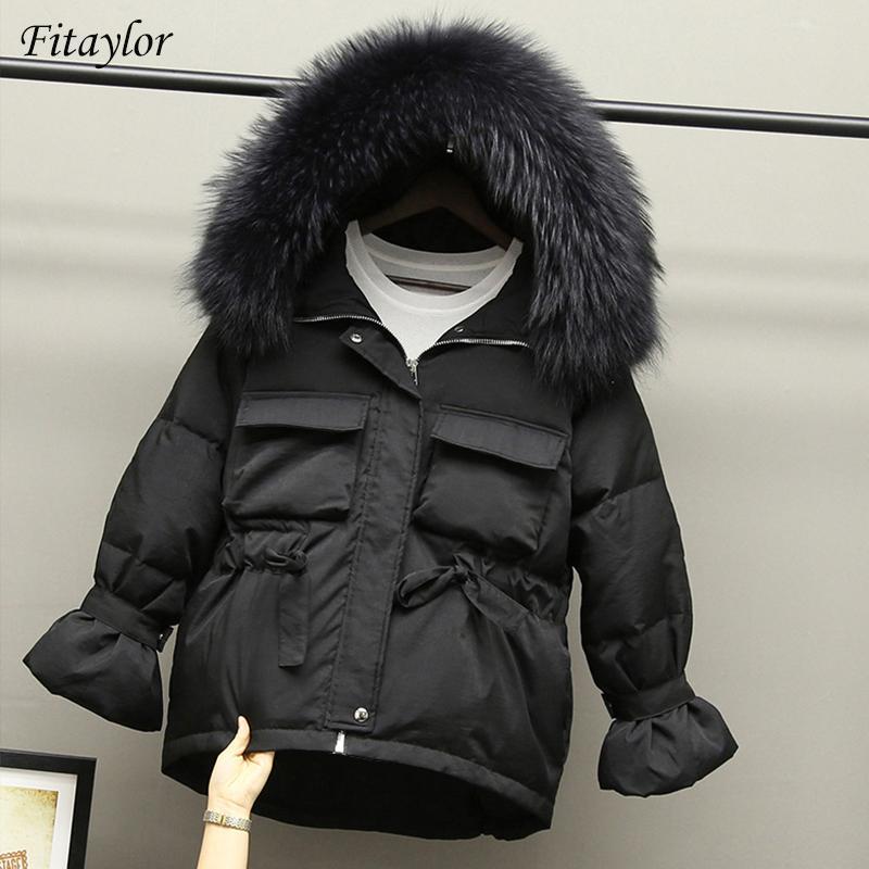 Fitaylor inverno delle donne il 90% bianchi piuma d'oca parka Slim Giacche Grande Natural Raccoon con cappuccio in pelliccia cappotto caldo nero neve Outwear T200905