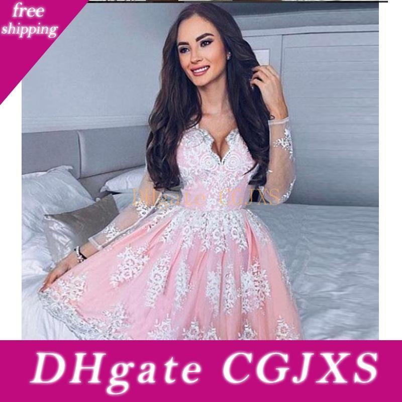 2018 A -ligne V -Neck manches longues courte rose robe de retour avec appliques courte robe de bal Birthday Party Dress