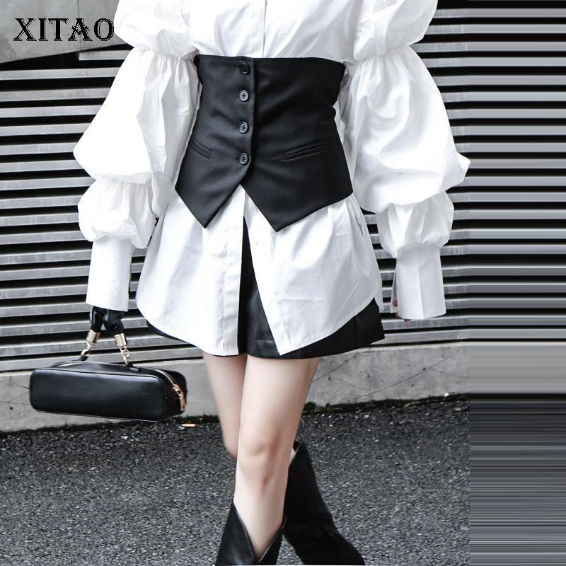 Xitao mujeres chaleco de la manera 2019 de mama invierno solo bolsillo pequeño fresca floja ocasional Negro diosa fan casual Envoltura Chaleco GCC3009 T200820