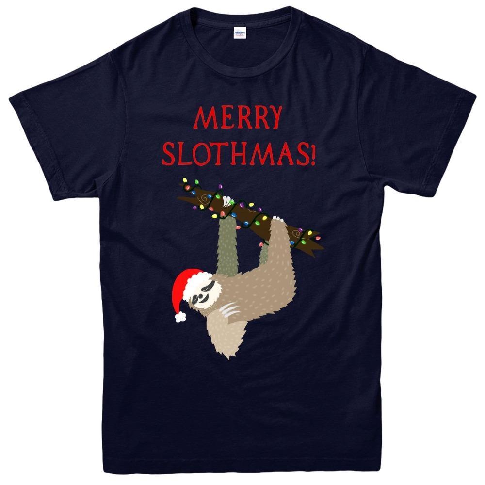 2020 Nova manga curta Casual T-shirt Preguiça Natal, Feliz Slothmas Xmas presente festiva Adulto T dos miúdos Top Sale 100% algodão
