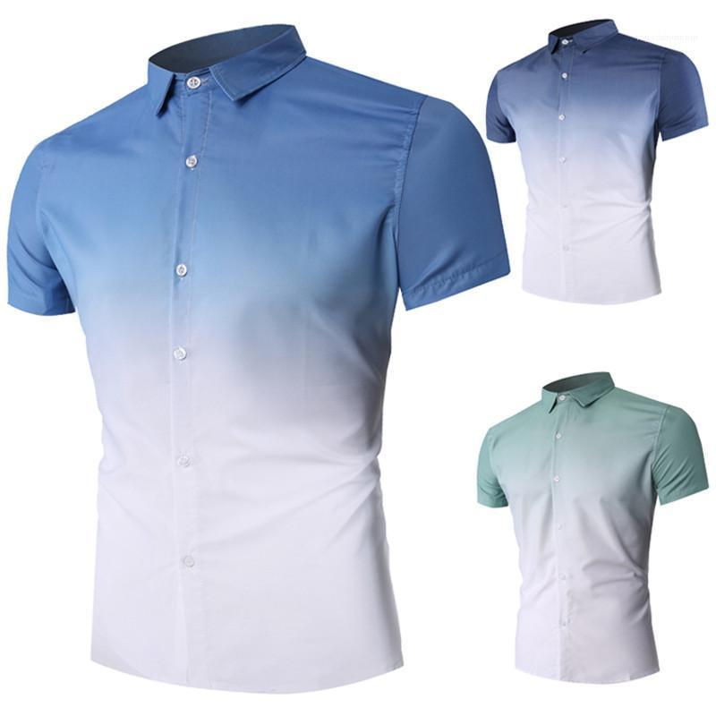 Chemises à manches courtes Dessigner Gradient Mode Chemises Chemises col Turn Hommes Vêtements d'été Hommes Casual