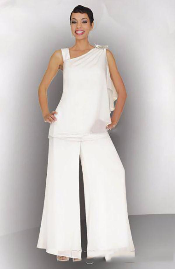 Modest 2020 madre della sposa Sposo Suit Pant increspato di cristallo Plus Size chiffon bianco donne eleganti cerimonia nuziale convenzionale Guest abiti
