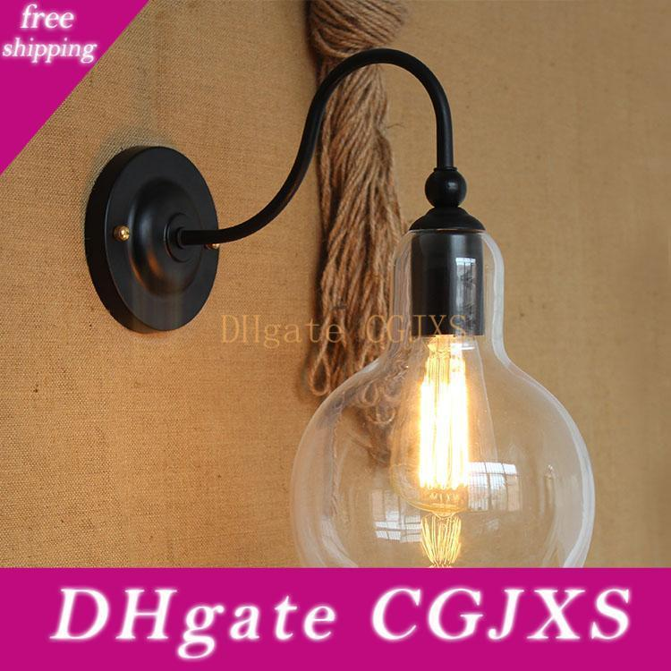 Vintage Iron Clear Glass Shade Wall Lamp Edison Bulb Fixtures Glass Ball Wall Lamps For Hallways
