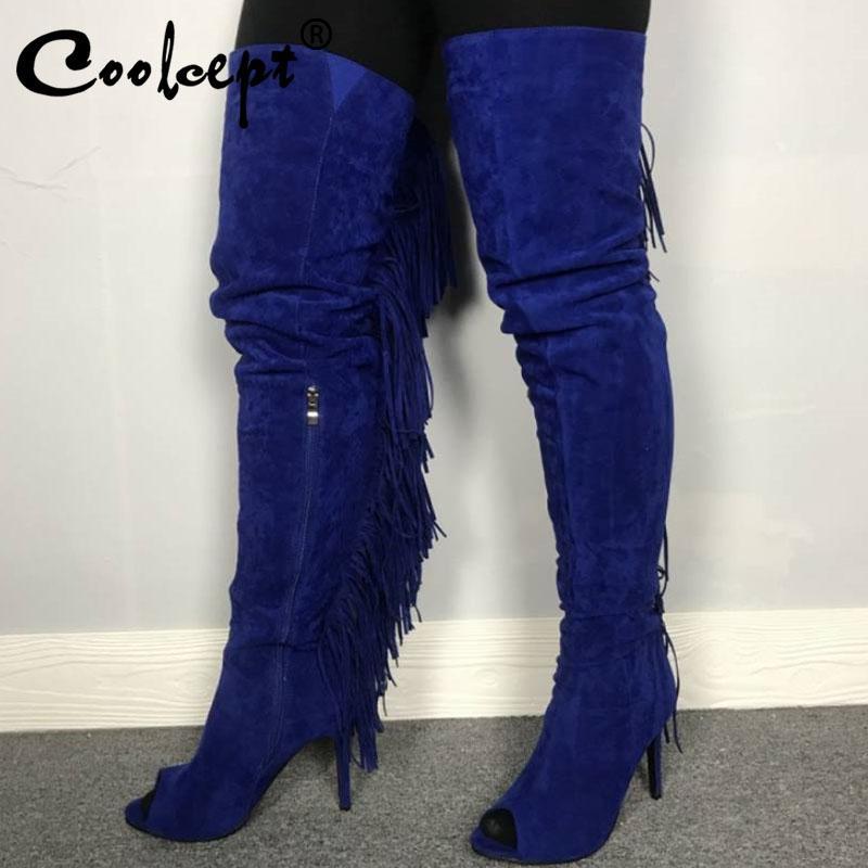 BOOTS COOLCEPT Moda Spring Mujeres sobre rodilla con estilo lateral con cremallera borlas zapatos Peep Toe Tacones delgados Calzado Tamaño 35-47