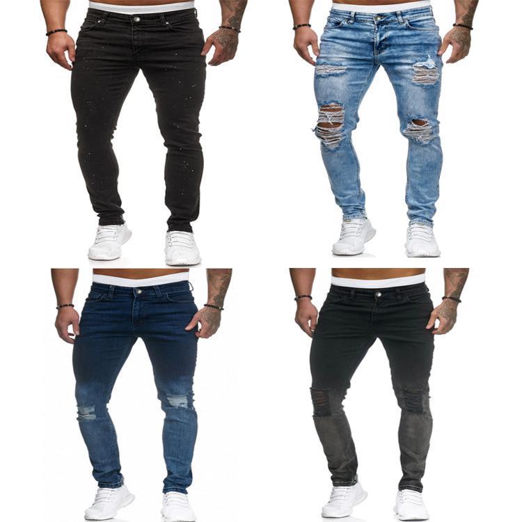 20S Мода лето тонких джинсы мужского мотоцикл рваных JeansFit промывают джинсы прямого Feet прямо джинсовых брюки S-3XL