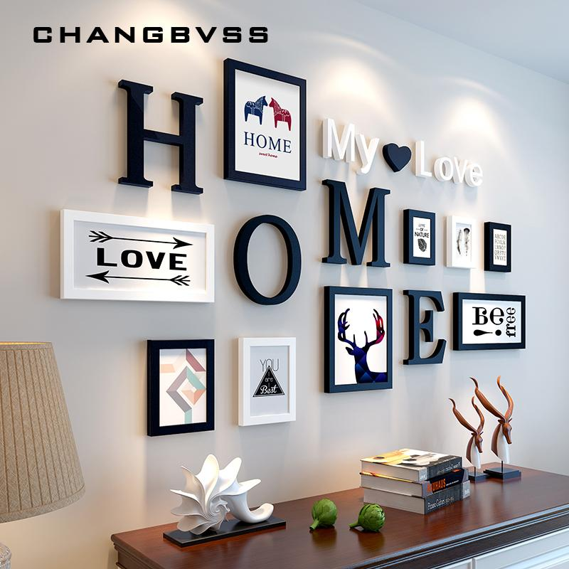 Europeu Stype Home Design do casamento do amor Photo Frame da decoração da parede de retrato de madeira Frame Set parede Photo Frame Set, Branco Preto C0927