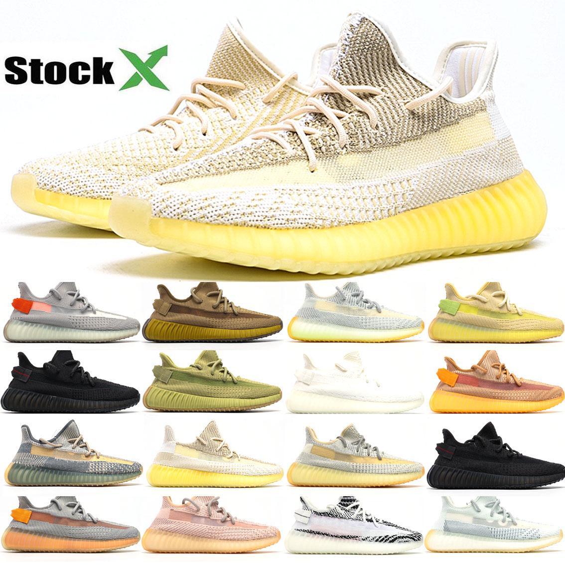 Confort para hombre de los zapatos corrientes de las zapatillas de deporte Deportes mujeres mejor Kanye West Desert Sage estático Tierra Zyon cola Tamaño de la escoria V2 luz con el balón de 36-46
