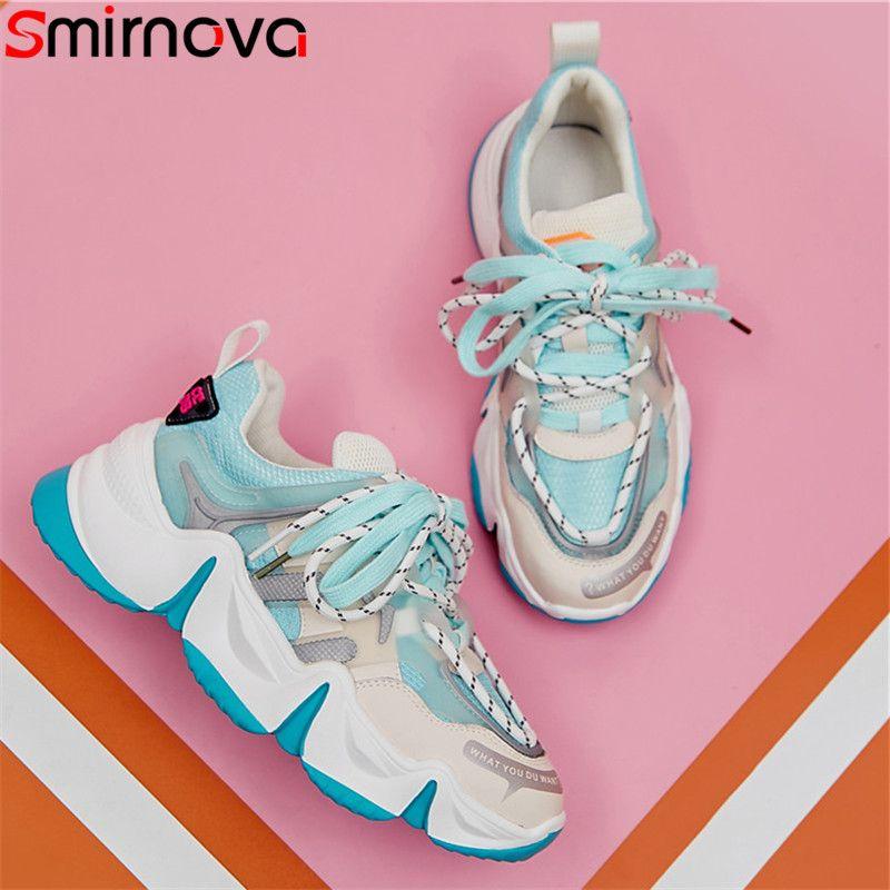 Smirnova 2020 Chaussures montantes papa de maille de qualité des femmes espadrille véritable dentelle à bout rond en cuir des chaussures plate-forme plate casual femme