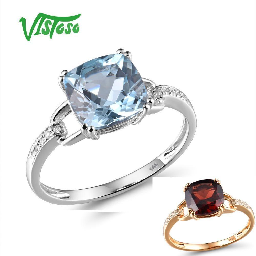 VISTOSO Pure14K 585 Белое золото / розовое золото Кольцо для женщин игристых Алмазная Прозрачный голубой топаз Anniversary Классический Fine Jewelry T200905