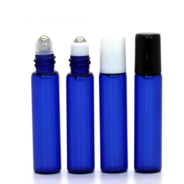 Şişeleri üzerinde 5ml Mavi Parfüm Cam Rulo Şişeleri Aromaterapi Uçucu Yağ Merdane