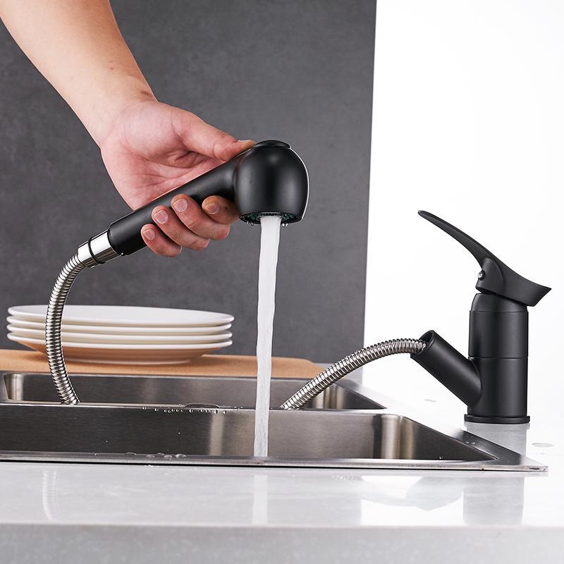 Cuisine Robinets Grifos De Cocina pivotant RETIREz cuisine robinet d'évier bassin en économisant l'eau noire de grue mélangeur en laiton Robinet WF-7005 T200424