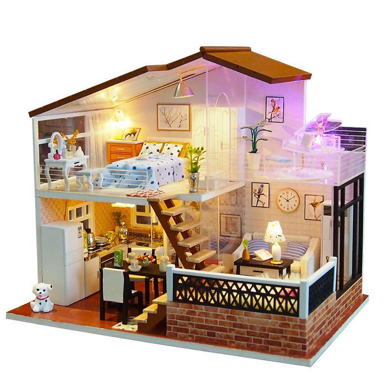 DIY Miniature Wooden Dollhouse Handcrafted Toys Hair Salon Building Doll Houses