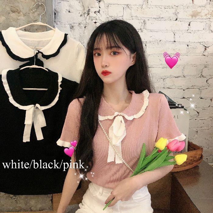 T a maniche corte di mkQXh donne con il collare Harajuku 2020 stile di estate nuovo allentata camicia Doll T-shirt corta maglia lace-up doll top coreano