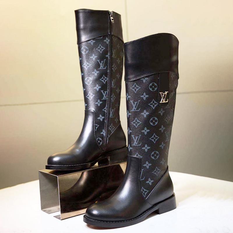 Kadınlar Boots Fermuar Diz Yüksek Yuvarlak Burun Platformu Bayan Ayakkabıları Artı boyutu 42 Bottes Femmes Chaussures De Femme Yüksek Top Bayan Ayakkabı Moda