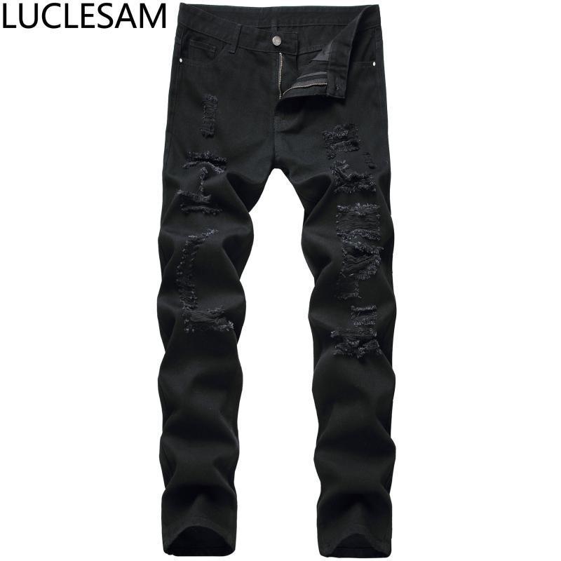 Erkek Kot Erkek Sıkıntılı Erkek Yırtık Delik Düz Denim Pantolon Hip Hop Streetwear Yüksek Bel Pantolon Erkekler Siyah Vintage Rahat Jean