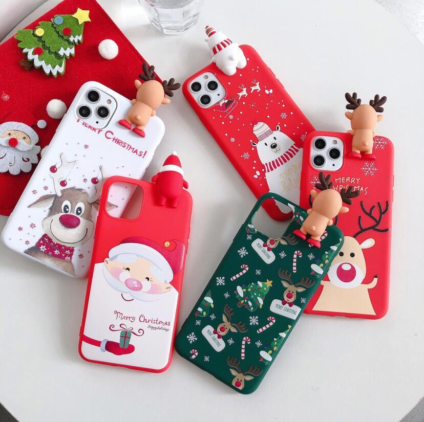 Cute 3D Doll Cartoon Christmas Santa Reindeer Tree Soft Phone Case for iphone 11 Pro Max XR 8 Plus Cover 2020 Xmas Gift