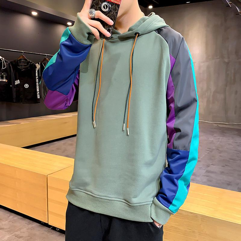 moda maschile maglione stile coreano casuale Pullover 2020 nuovo autunno di base allentata da uomo Felpa con cappuccio da uomo