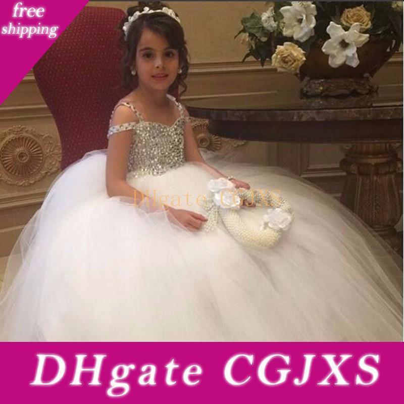 Luxo strass vestido de baile Floristas Vestidos para casamentos 2018 Longa Tulle Pageant Princess Party Vestidos