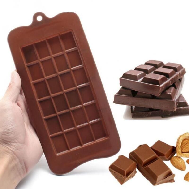 24 그리드 스퀘어 초콜릿 금형 실리콘 금형 디저트 블록 금형 바 블록 얼음 실리콘 케이크 캔디 설탕 베이킹 금형 LX2747