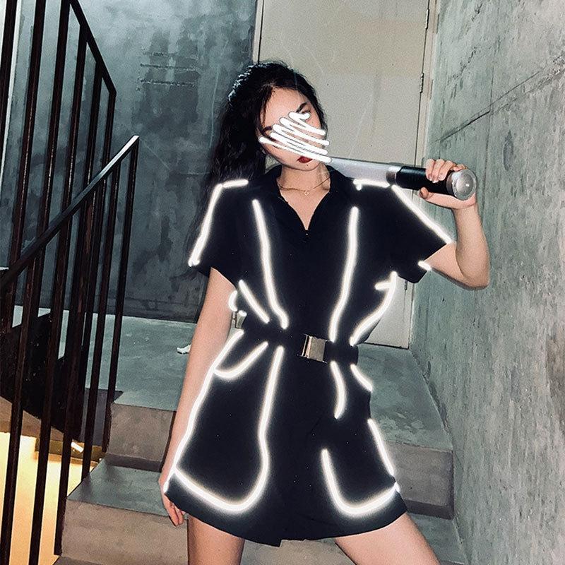 CaEvI Li Wanjun spor stil tulum kadın bel geçirmez yüksek profilli siyah yansıtıcı Şort ve şort yaz New gevşek tulum
