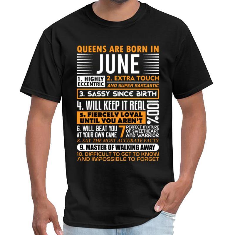 Design JUIN - QUEENS Naissent EN JUIN tishert T-shirt homme royal enfield T-shirt grande taille de ~ 5xL top Tee-shirt