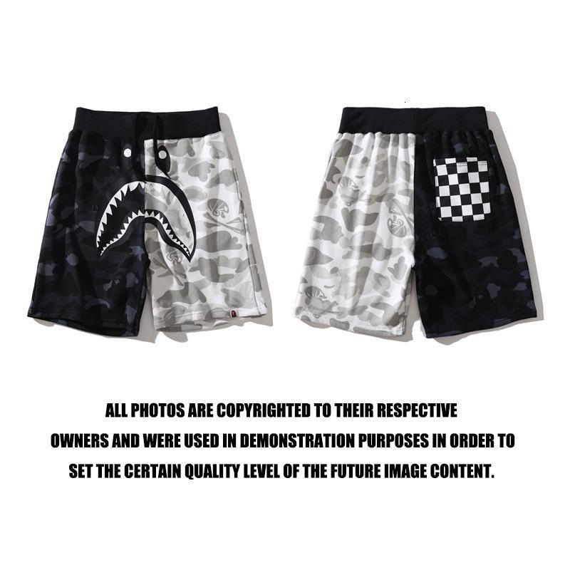Primavera e marca de moda de verão em preto e correspondência de cores branco escuros tubarão calça casual calças dos homens calças cortadas algodão estampado personalizado