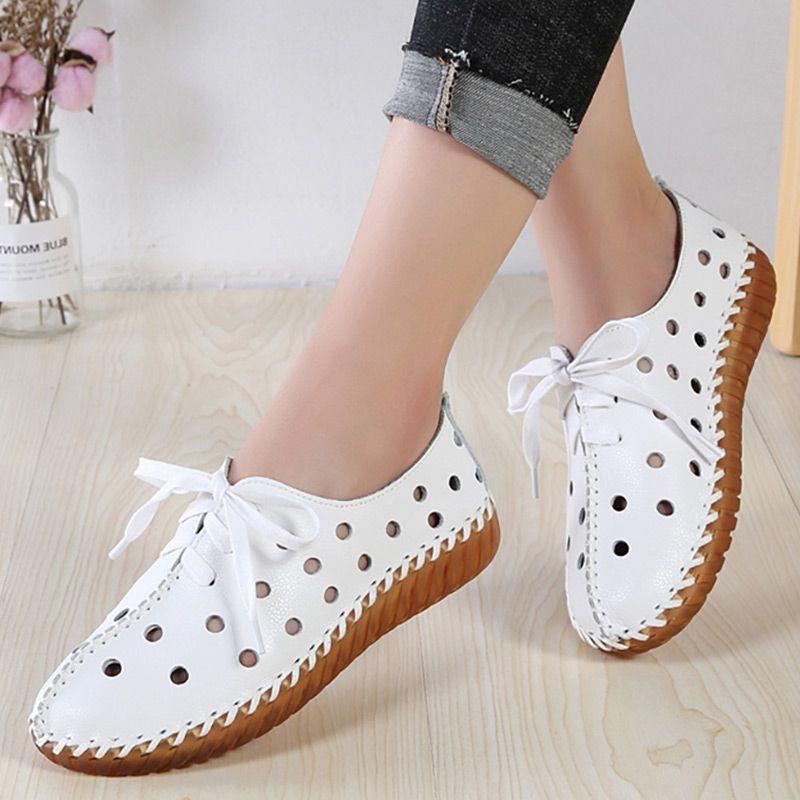 blanco zapatos planos de las mujeres auténticas mocasines de cuero zapatos casuales hueco de la manera con cordones sapatos caminar suave Femenino