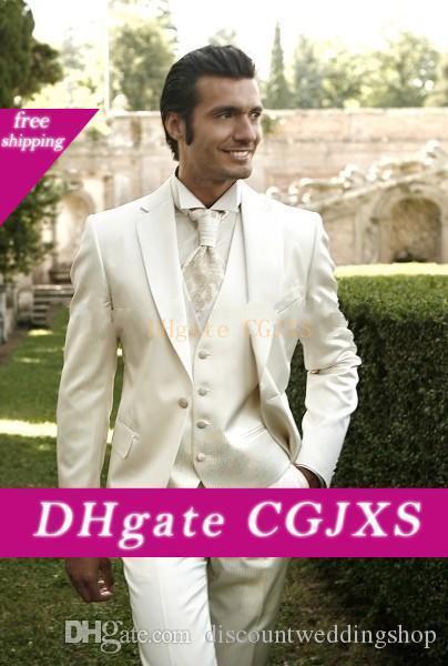 Neueste Design Bräutigam Smoking Elfenbein Kerbe Revers Männer Arbeit Anzug Hochzeit Abend Blazer Partei Anzüge (Jacke Hosen Weste Krawatte) J608