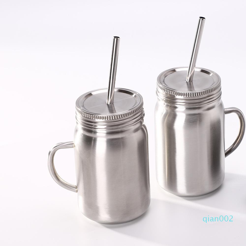 parete singola tazza 700ml in acciaio inox tazza Vaso di muratore con coperchio in acciaio inox paglia caffè succo di boccale di birra muratore lattine AHE278