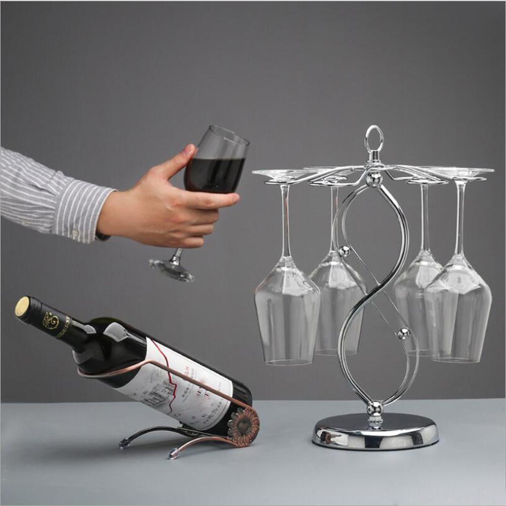 6 crochet porte-verre de vin rouge affichage arbre porte-verre vin de métal à l'envers fournitures de la barre de support XD22897