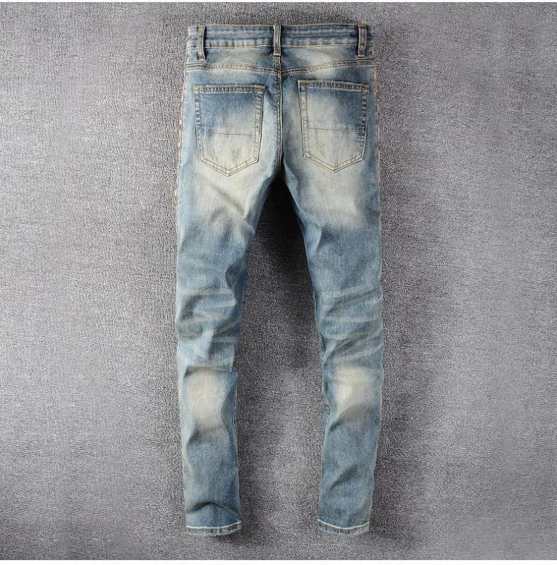 Men/'s Patchwork Leopard print Side Zipper Ripped Skinny Stretch Denim Jeans