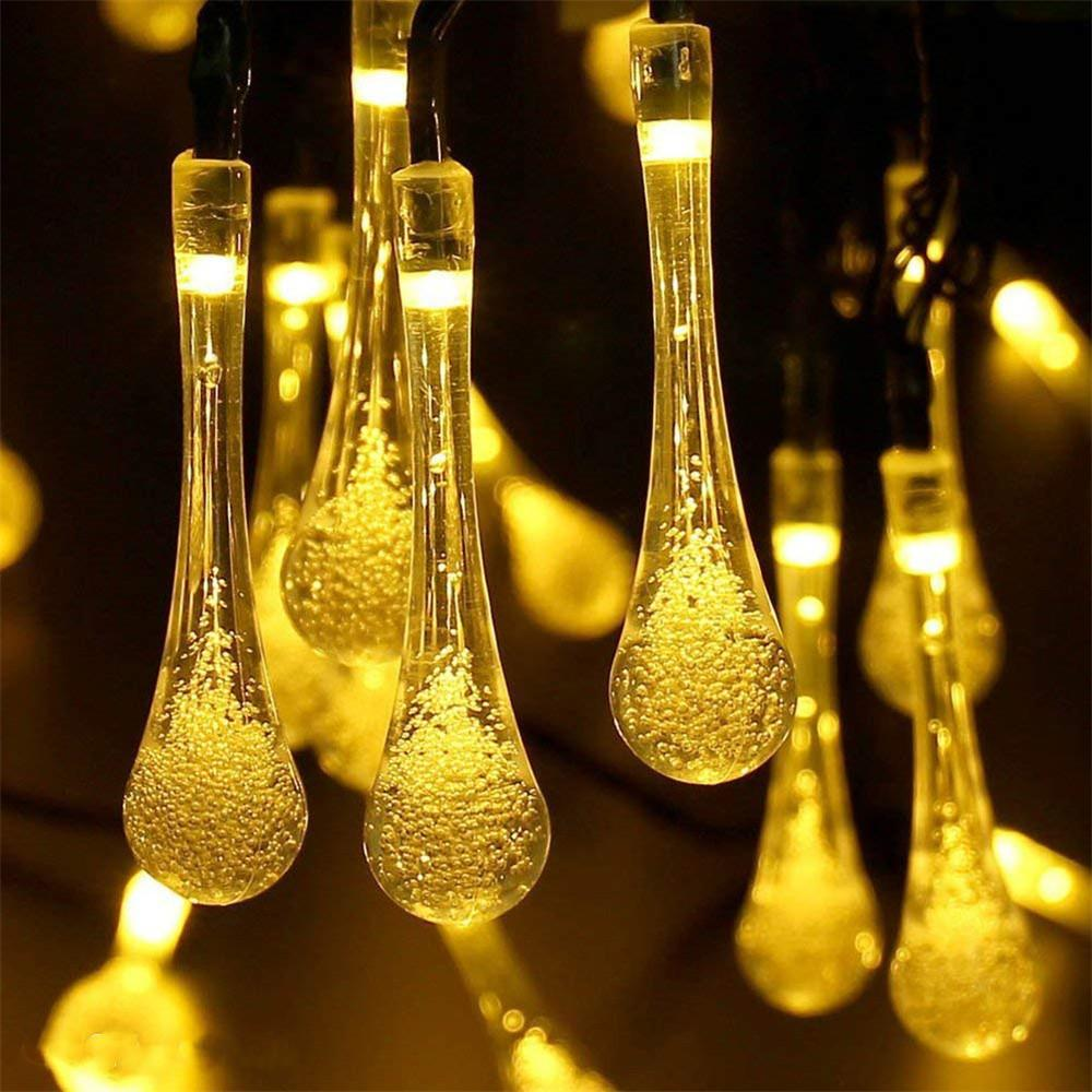 Raindrop Luzes Cordas 6M 40 LED Water Drop de Luzes impermeáveis para Jardim Pátio Quintal Início Holiday Party Decor Lighting 220V
