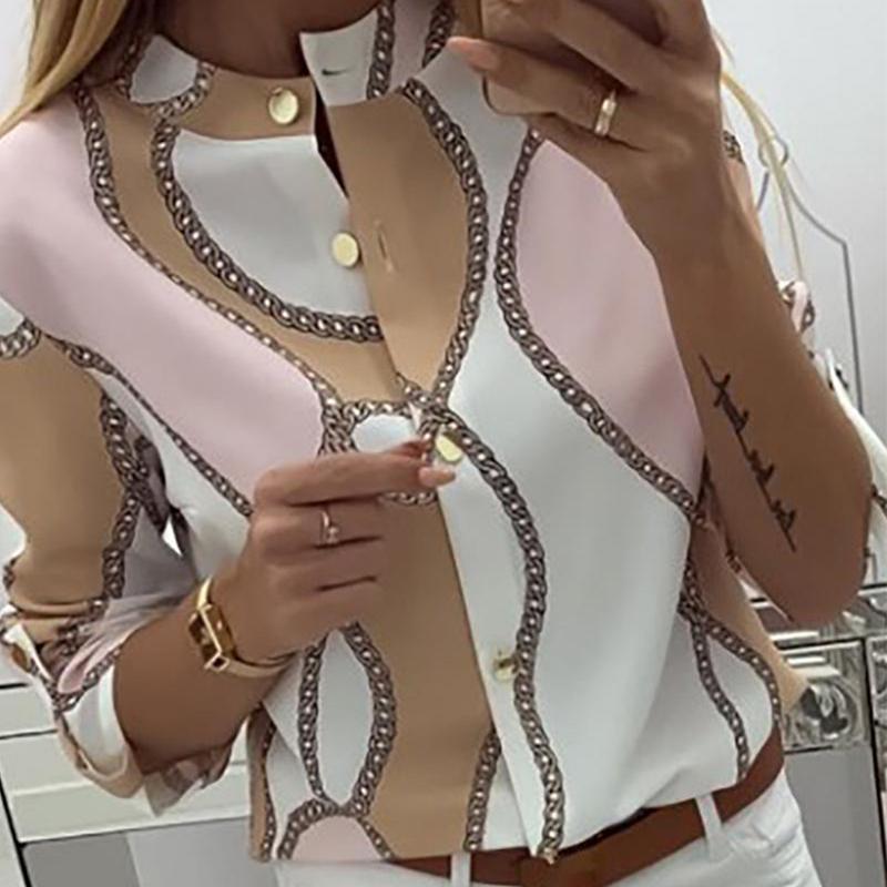 2020 neue populäre Frauen-Chiffon- Blusen-Hemd Weiblichen Langarm Blusas Chiffon Frauen Büro Blusen Druck Gestreifte Lady Top