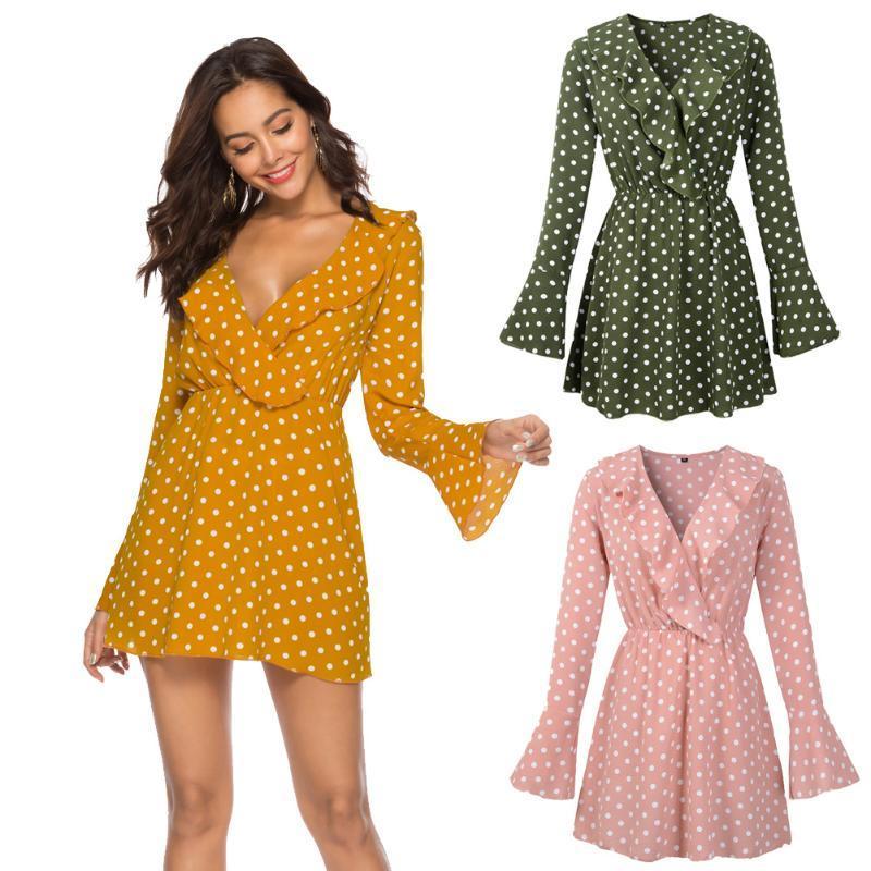 Mujeres Sexy cuello en V punto de impresión Casual vestido de gasa de las colmenas de la llamarada de la manga larga de las señoras mini vestidos de Mujer Pullover una línea de Vestidos