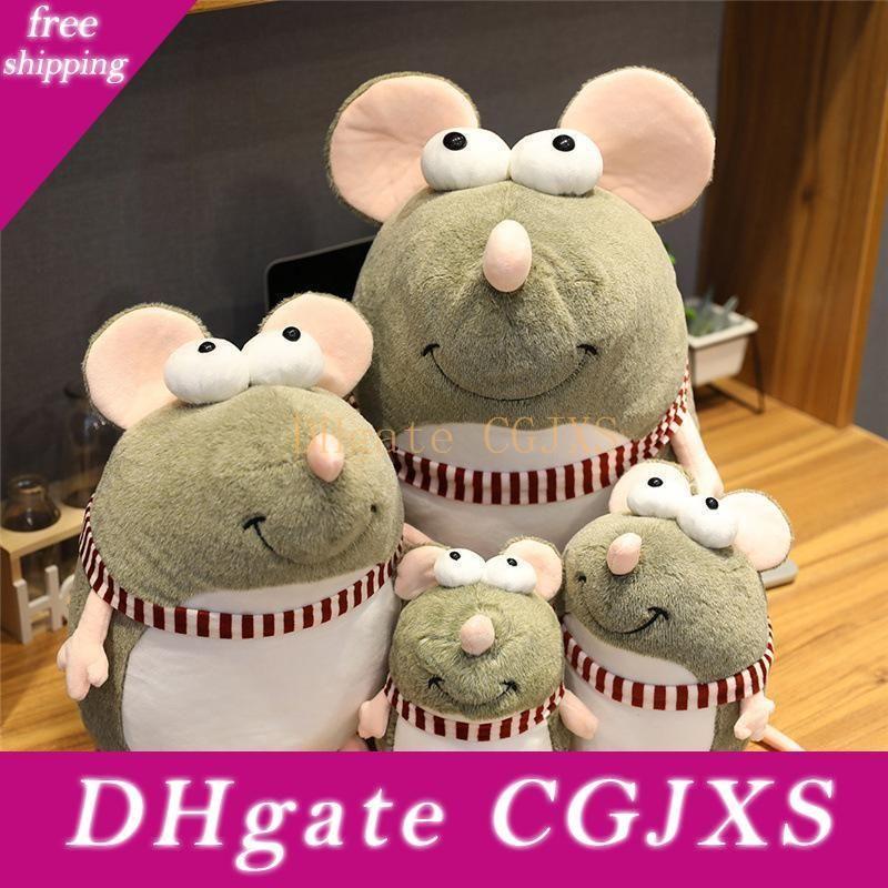 Nueva 25cm Big Eyes linda del ratón de felpa muñeca de juguete de felpa de algodón PP animales creativos regalos lindos del ratón de la muñeca de Navidad Niño