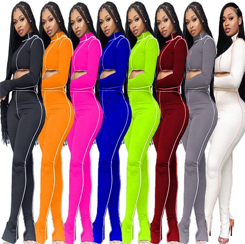 2020 femmes deux pièces Tenues irrégulières hauts écourtés + Pantalons fendus Stacked Legging Sport Costume Mode Survêtements Lady Club de Street Wear LY8282