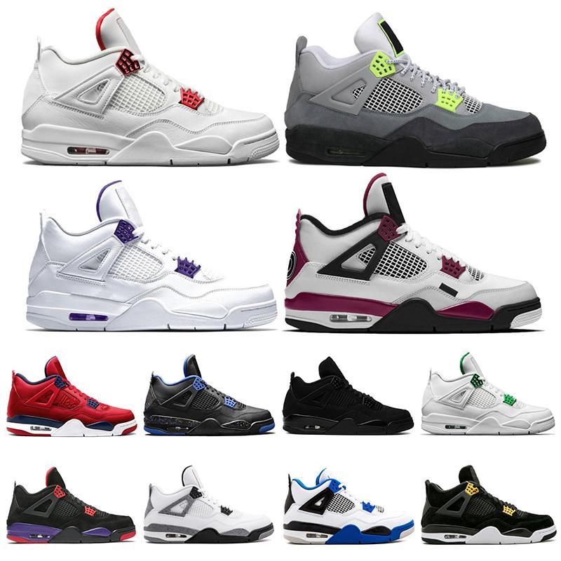2020 4 4s Мужская баскетбольная обувь суд фиолетовый Sail Pine Green University Рыжие кроссовки Спортивная обувь размер 7-13