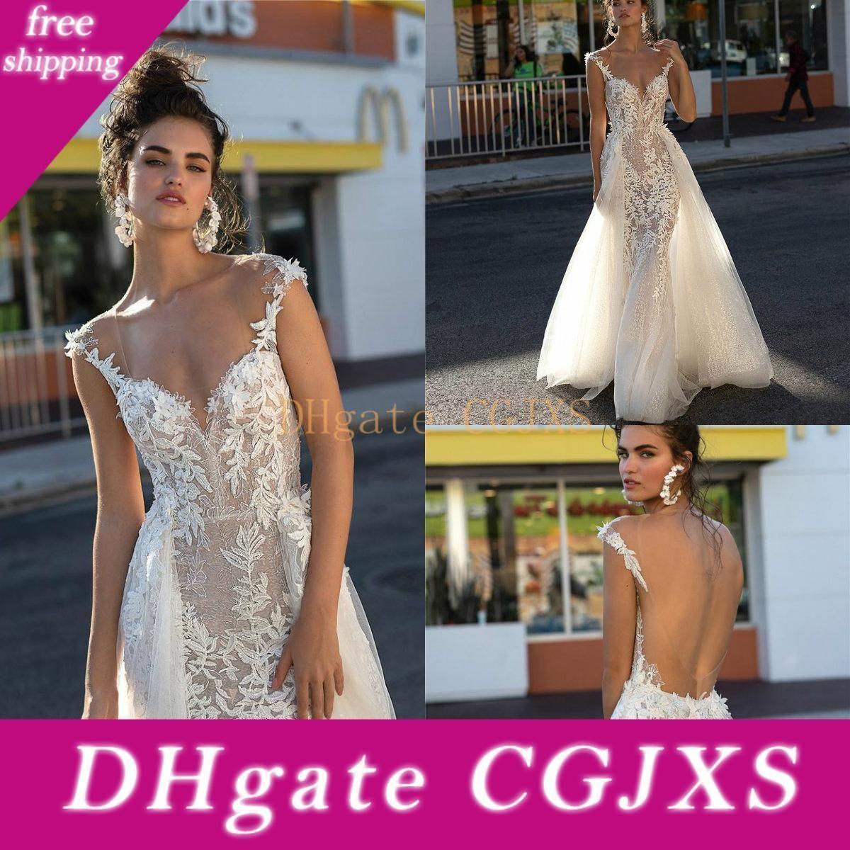 Berta 2019 vestidos de noiva sexy aberto Illusion Cap Sleeve Lace Appliqued vestidos de noiva com trem destacável Mermaid vestido de casamento