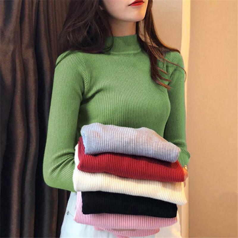 Chaqueta Mujer del suéter Y Otoño Invierno Mujeres Corto de cuello alto suéter de manga larga de las mujeres suéteres y jerséis de punto