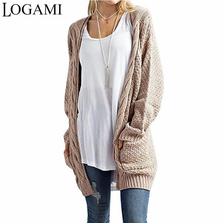 LOGAMI Cardigan lungo manica lunga Maglione Cardigan Autunno Inverno Donna maglioni 2020 Jersey Mujer Invierno