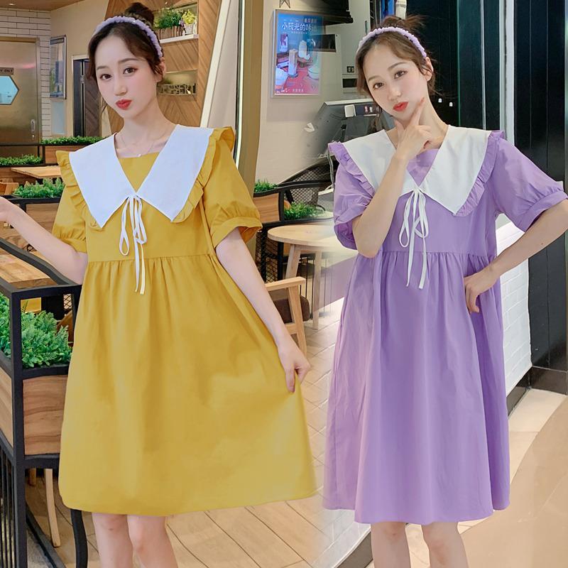 1181 # Umstandskleid Sommer Baumwolle Kurzarm Stilvolle Sweety Kleid für schwangere Frauen Mom