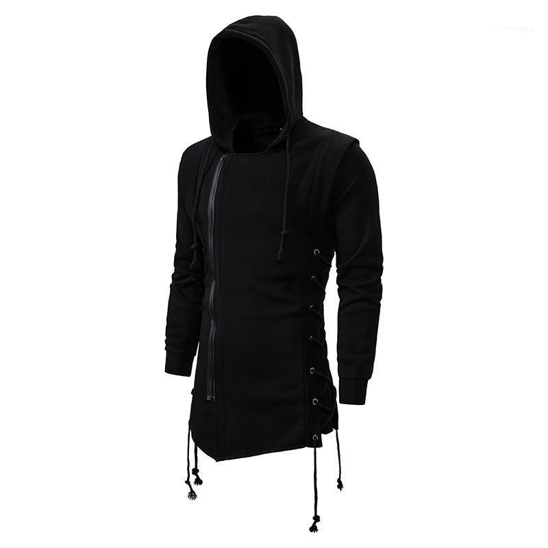 Invierno color sólido capas largas con capucha Moda collar Outerwears con cremallera caliente invierno gruesa señores abrigos para hombre del diseñador otoño y
