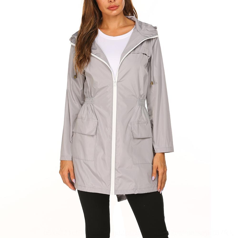 Women's 2020 Autumn new casual zipper zipper hooded waterproof raincoat mid-length coat for women