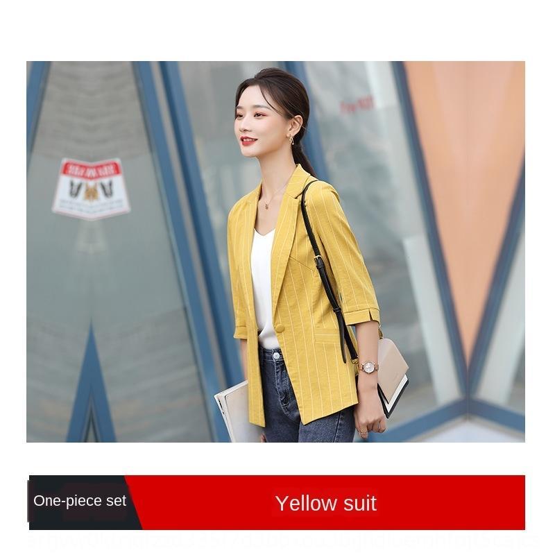 5G4hl Frauen 2020 Frühjahr neue Mode Streifenanzug koreanische Art loser kleine Jacke Jacke Anzug elegant professionelle Top