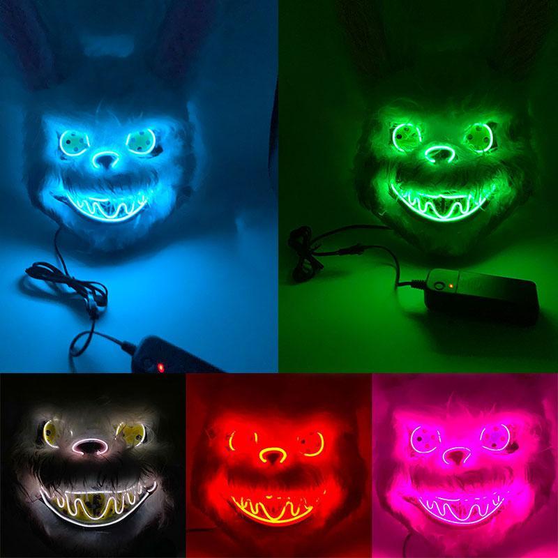 Кровавого кролик Светящейся маски Horror Demon Halloween Party Маска Медведь Плюшевые животные Headgear EL Шлет Одевает Реквизит Dropshipping F0901