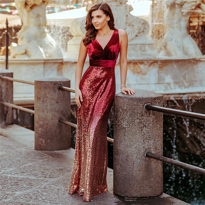 Costura de la cintura vestido de banquetes Famale Ropa de diseño sin mangas de cuello V mujeres atractivas adelgazan de largo Vestido de lentejuelas
