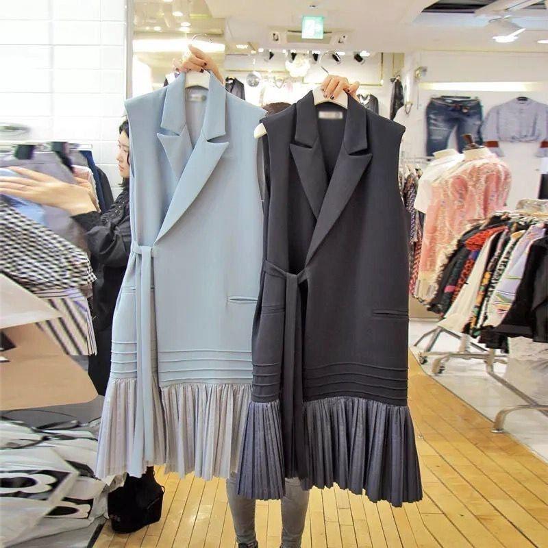 2020 primavera e l'elegante cappotto della maglia donne di stile Autunno Nuovo coreano lace-up Pieghe gilet arruffato cuciture moda vestito del cappotto collare femminile Oy