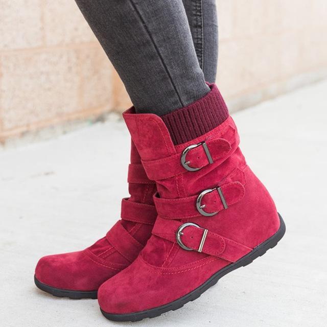 Ботинес Mujer 2020 Женщины Теплый Снег Boots Flat Плюшевые вскользь Женская обувь Осень Зима Пряжка Женский Середина теленок гот сапоги TACONES